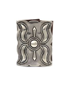 """Navajo Silver and Leather Ketoh c. 1940s, 4"""" x 3"""" (J14046-CO)"""