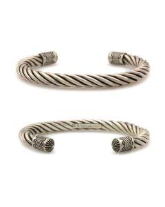 Kee (Karl) Nataani – Navajo Contemporary Sterling Silver Twisted Cable Design Bracelet with Stamped Terminals, size 8 (J14184-001)