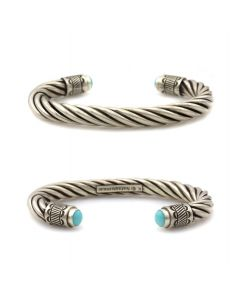 Kee (Karl) Nataani – Navajo Contemporary Sterling Silver Twisted Cable Design Bracelet with Turquoise on Terminals, size 7 (J14184-002)