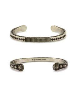 Kee (Karl) Nataani – Navajo Contemporary Sterling Silver Stamped Design Bracelet, size 7.5 (J14184-003)