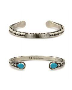 Kee (Karl) Nataani – Navajo Contemporary Sterling Silver Stamped Design Bracelet with Turquoise on Terminals, size 7 (J14184-004)