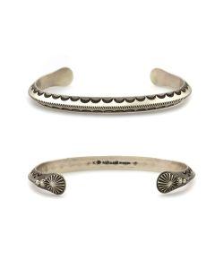 Kee (Karl) Nataani – Navajo Sterling Silver Stamped Design Bracelet, size 8 (J14184-007)