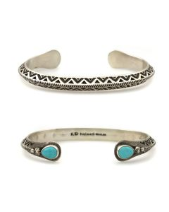 Kee (Karl) Nataani – Navajo Contemporary Sterling Silver Stamped Design Bracelet with Turquoise on Terminals, size 7 (J14184-010)
