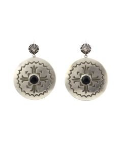 """Kee (Karl) Nataani – Navajo Contemporary Onyx and Sterling Silver Earrings with French Hooks, 2"""" x 1.5"""" (J14184-021)"""