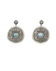 """Kee (Karl) Nataani – Navajo Contemporary Turquoise and Sterling Silver Earrings with French Hooks, 1.75"""" x 1.25"""" (J14184-024)"""