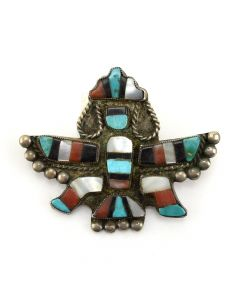 Zuni Multi-Stone Inlay Knifewing Pin with Coral, Turquoise, Mother of Pearl/Abalone, Jet, and Silver