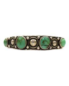 Navajo Ingot Silver and Turquoise Bracelet c. 1910s, size 6.625 (J1718)