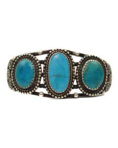 Zuni Three Stone Bracelet, c. 1930, Size 6.5