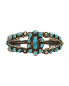 Navajo Silver and Turquoise Bracelet, c. 1920, Size 7.25