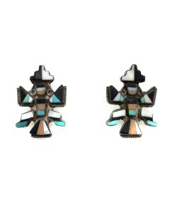 "Zuni Multi-Stone Inlay and Silver Knifewing Post Earrings c. 1930s, 1.25"" x 0.75"" (J2620)"