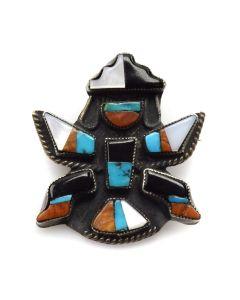 """Zuni Knifewing Pin, c. 1950, 1.25"""" x 1.125"""""""