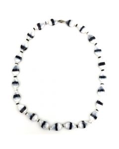 """Non-Native Antique Black and White Glass Beaded Necklace, 24"""" length (J3097)"""