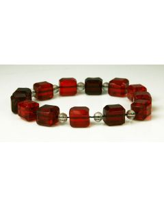 Square Translucent Red Faceted Victorian Bead Bracelet with Miniature Clear Crystal Beads, size 8.5 (J3108)