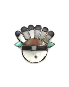 """Zuni Multi-Stone Inlay and Silver Sunface Kachina Pin, c. 1930s, 1.125"""" (J3126)"""