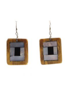 "Ava Marie Coriz ""Cool-Ca-Ya"" (1948-2011) - Santo Domingo (Kewa) Cottonwood Earrings with Mother of Pearl and Jet, 1.25"" x 1"" (J3462)"