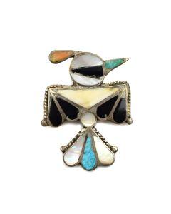"Zuni Multi-Stone Inlay and Silver Thunderbird Pin, c. 1940, 2"" x 1.375"""