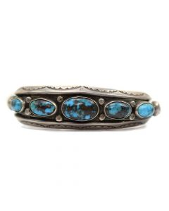 Navajo Persian Turquoise and Silver Bracelet, c.1930, Size 6.25