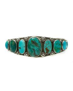 Navajo Ingot Silver and Turquoise Bracelet c. 1910s, size 6.5 (J3623)