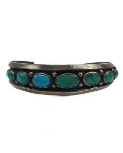 Navajo Turquoise and Silver Bracelet c. 1930s, size 6.75 (J3625)