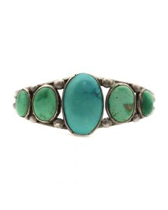 Lot 109 - Navajo Turquoise and Silver Bracelet with Hand-Pulled Wire c. 1920s, size 6.25 (J3636)