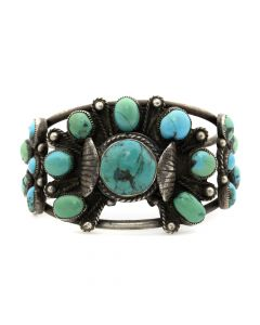 Navajo Turquoise and Silver Bracelet c. 1950s, size 6.5 (J3857)