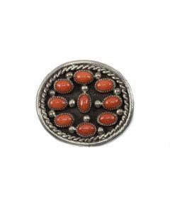 Navajo Silver and Coral Pin