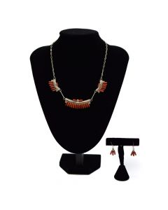 Zuni Coral Petit Point Necklace and Earrings Set, c. 1950
