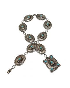 "Navajo Persian Turquoise and Silver Concho Belt c. 1938, 30"" total length (J4115)"