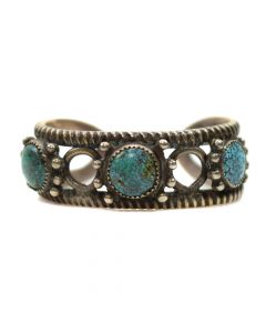 Navajo Number 8 Turquoise and Ingot Silver Bracelet, c. 1920, Size 6