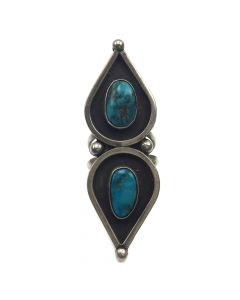 Navajo Two Stone Tear Drop Shaped Bisbee Turquoise Ring, c. 1950, Size 6.25