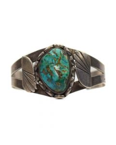 Navajo Silver and Single Stone Morenci Turquoise Bracelet, c. 1940, Size 6.75
