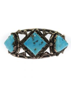 Navajo Silver and Turquoise Bracelet, c. 1940, Size 6.25