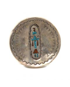"Navajo Turquoise and Coral Chip Inlay and Silver Stamped Snuff Box Top with Yei Design c. 1960s, 2.625"" Diameter"