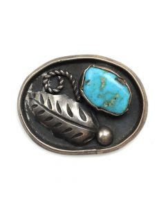 """Platero - Navajo Turquoise and Silver Oval Pin with Leaf Design c. 1970s, 1"""" x 1.25"""" (J4291)"""
