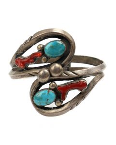 Ramon Platero - Navajo Blue Gem Turquoise, Coral, and Silver Bracelet c. 1970s, size 6 (J4334)