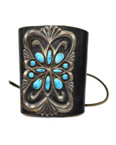 """Navajo Ketoh with Turquoise and Sandcast Silver c. 1930-40s, 4.5"""" wide (J4562)"""