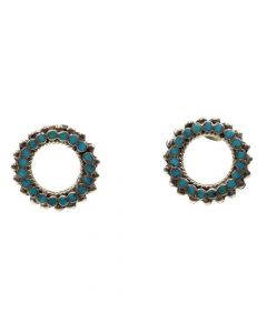"Dishta Family - Zuni Petit Point Turquoise Channel Inlay and Silver Post Earrings c. 1950s, 0.875"" (J4614)"