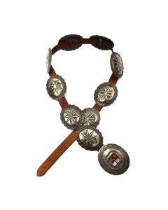Navajo Silver and Leather Concho Belt, circa 1940s (J4830)