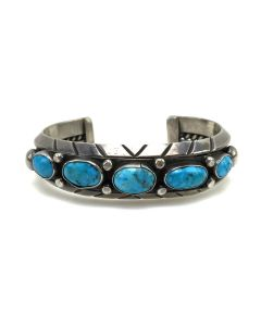 Navajo Turquoise and Silver Bracelet c. 1960s, size 6.5 (J5040)