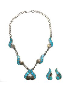 Zuni Turquoise Channel Inlay and Silver Necklace and Clip-On Earrings Set c. 1950s (J5042)