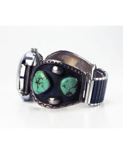 Navajo Royston Turquoise and Silver Watchband, c. 1973, Size 7