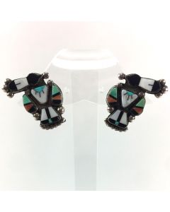 "Zuni Multi-Stone Inlay and Silver Thunderbird Post Earrings c. 1940s, 1.25"" x 0.75"" (J5219)"