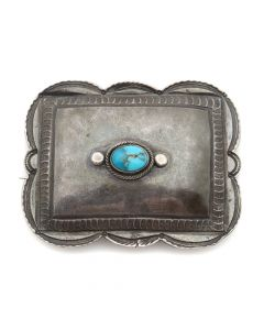 """Navajo Turquoise and Silver Pin c. 1920s, 1.75"""" x 2.25"""" (J5259)"""