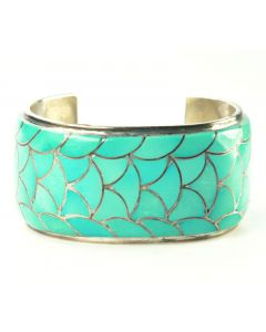 SOLD Orlinda Natewa - Zuni Turquoise Channel Inlay and Silver Bracelet