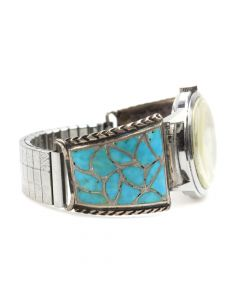 Zuni Turquoise Channel Inlay and Silver Watchband c. 1950s, size 6.5 (J5471)