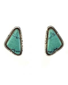 "W. T. Johnson - Navajo Turquoise and Sterling Silver Post Earrings c. 1960, 1.375"" x 0.875"""