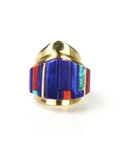 SOLD Charles Loloma -  Hopi Multi-Stone Inlay and 14K Gold Ring