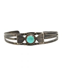 Navajo Fred Harvey Turquoise and Silver Bracelet c. 1930s, size 6.5 (J5649)