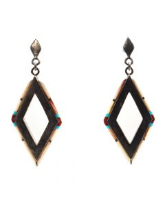 "Navajo Multi-Stone and Sterling Silver Post Earrings c. 1960s-70s, 2"" x 0.75"" (J5700)"