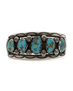Lot 113 - Navajo Turquoise and Silver Bracelet with Stamped Designs c. 1950s, size 6.75 (J5720)